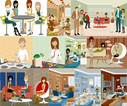 illustration of modern men and women vector