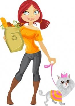 lifestyle icon shopping girl dog pet sketch