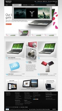 imitation sony sony website pages template psd layered