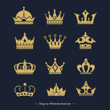 imperial crown templates golden flat elegant design