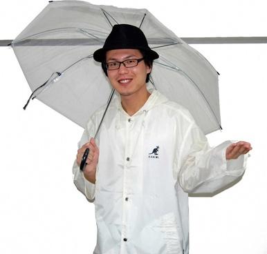 in raincoat