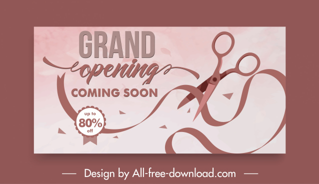 inauguration card template dynamic scissors ribbon sketch