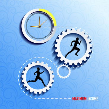 income development vector illustration with gears and clock