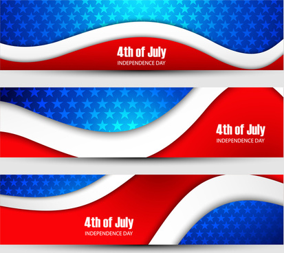 independence day background three header set vector illustration