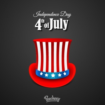 independence day poster with the hat in american style