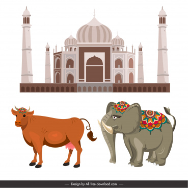 india design elements architecture cow elephant sketch