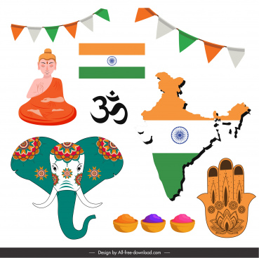 india design elements colored flat classic symbols sketch