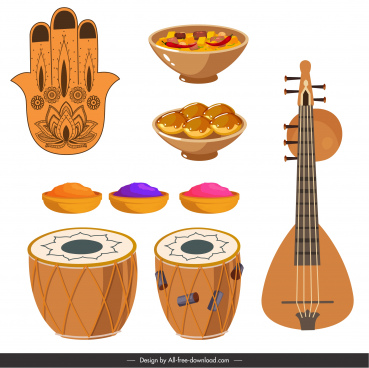 india design elements cuisines music instruments sketch