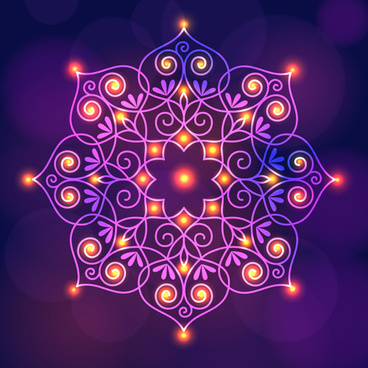 india floral diwali background vector