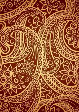 tradition pattern template flat flora curves sketch