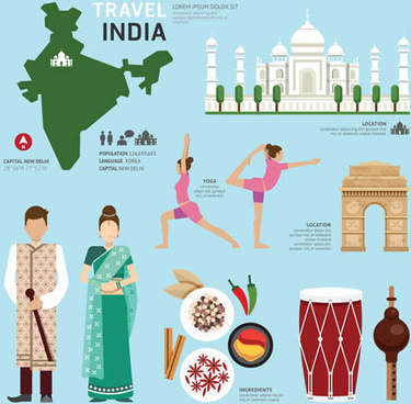 india tourism elements vector