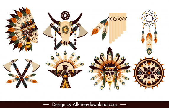 indian design elements tribe symbols sketch
