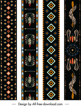 indian ethnic patterns templates colorful retro symmetric decor