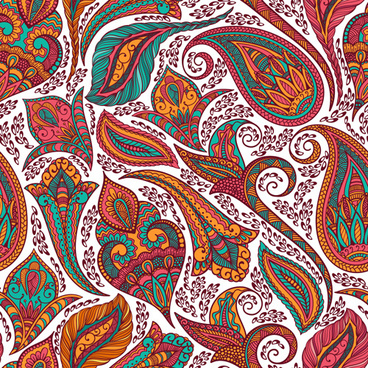 indian paisley seamless pattern vector