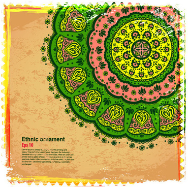 indian style floral ornament vector graphics