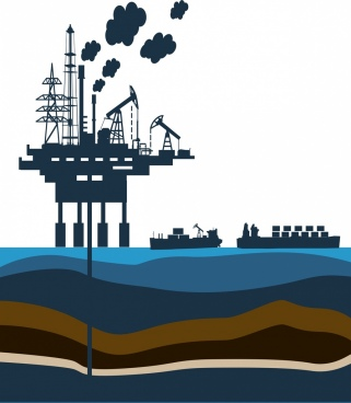 industrial background design oil platform decoration silhouette style