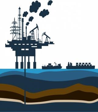 industrial background design oil platform decoration silhouette style