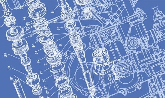 technology background gear parts sketch 3d handdrawn design