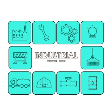 industrial icons collection blue draft design isolation