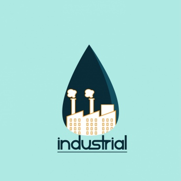 industrial logo design colored plant and drop style