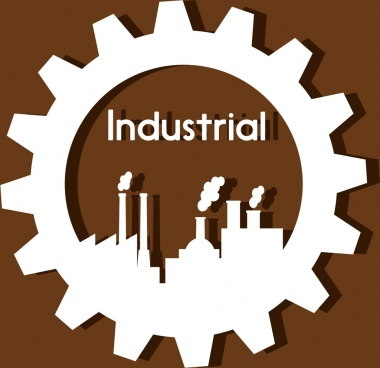 industrial logo design gear and plant icons style