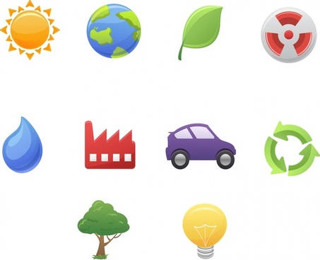 ecological design elements colored flat symbols icons
