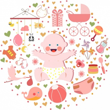 infant accessories design elements round layout cute kid