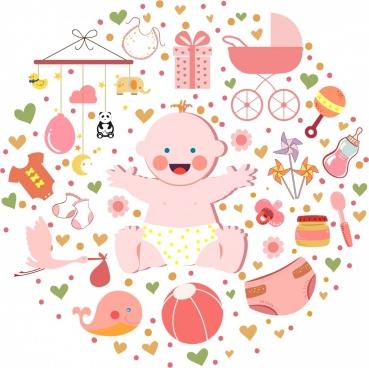 infant accessories design elements round layout cute kid