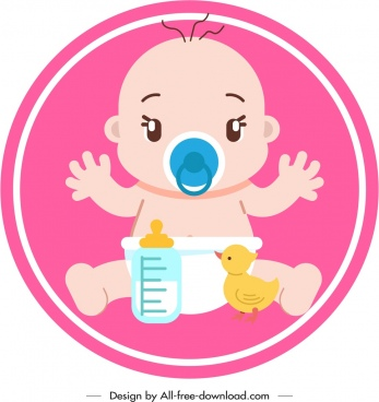 infant baby icon colored cartoon character sketch