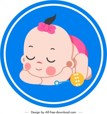 infant baby icon sleeping gesture colored cartoon sketch