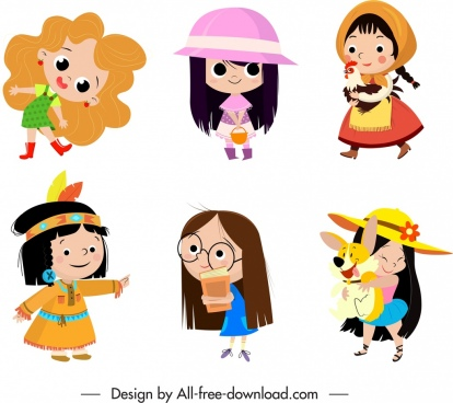 infant girl icons cute cartoon characters sketch