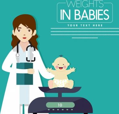 infant health banner kid doctor balance icons