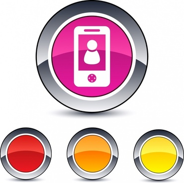 round button templates shiny colored modern flat design
