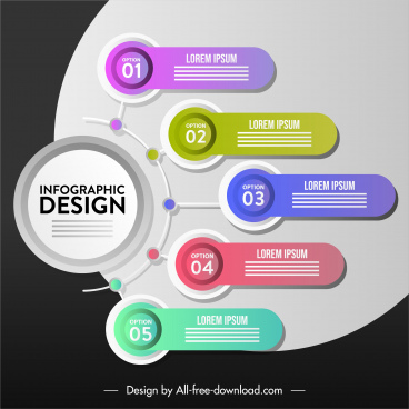 infographic banner colorful modern flat shapes decor