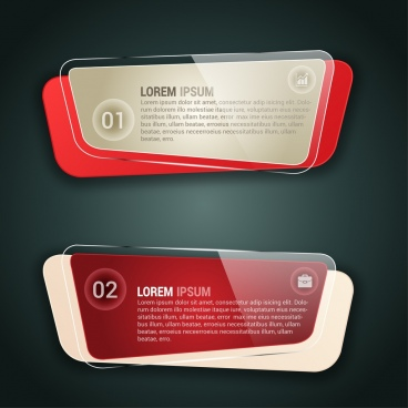 infographic banner design shiny glass transparent style