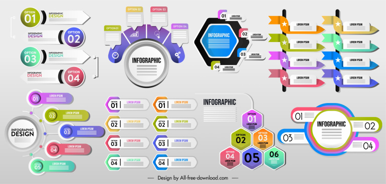 infographic decor elements modern colorful shapes sketch