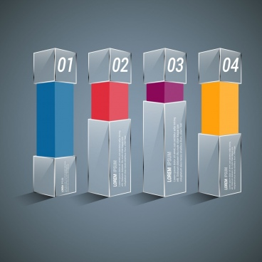 infographic design 3d colored column chart style