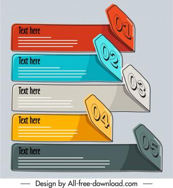 infographic design elements 3d classical handdrawn horizontal bars