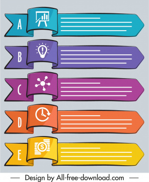 infographic design elements 3d handdrawn horizontal ribbon tags
