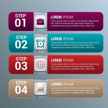 infographic design elements colored horizontal style