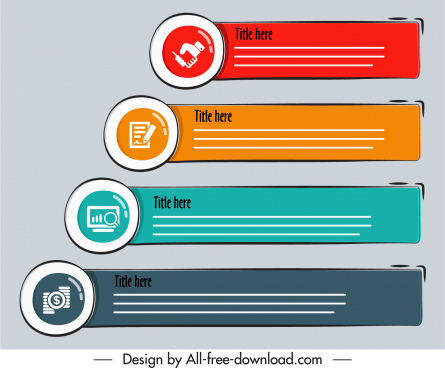 infographic design elements colorful classical horizontal bars