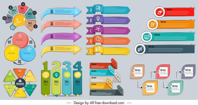 infographic design elements colorful classical shapes sketch
