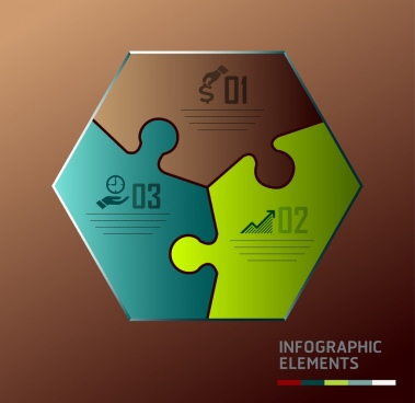 infographic design elements geometric puzzle joints icons decoration