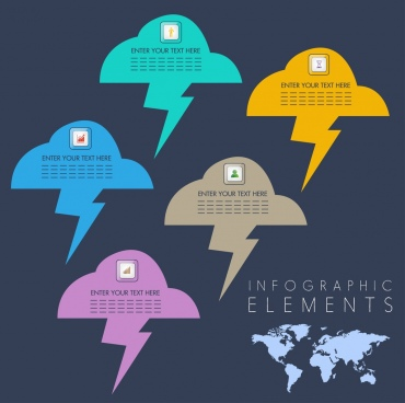 infographic design elements lightning cloud icons decor