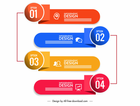 infographic design elements modern 3d horizontal shapes