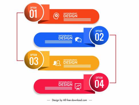 infographic design elements modern 3d horizontal shapes