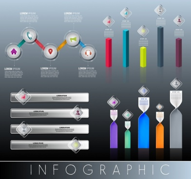 infographic design elements multicolored shiny shapes
