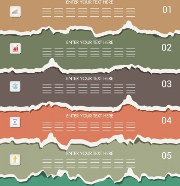 infographic design elements multicolored torn paper decor