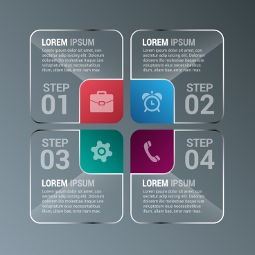 infographic design elements rounded squares decoration