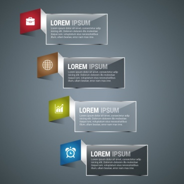 infographic design elements shiny folding banners style